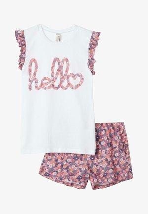 MIT SOMMERBLUMENPRINT UND VOLANT - Pyjama set - white/pink