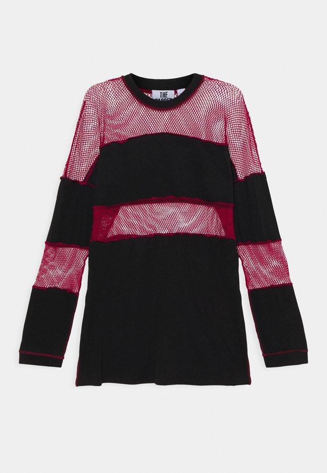 FISHNET SKATER DRESS - Jersey dress - black/red