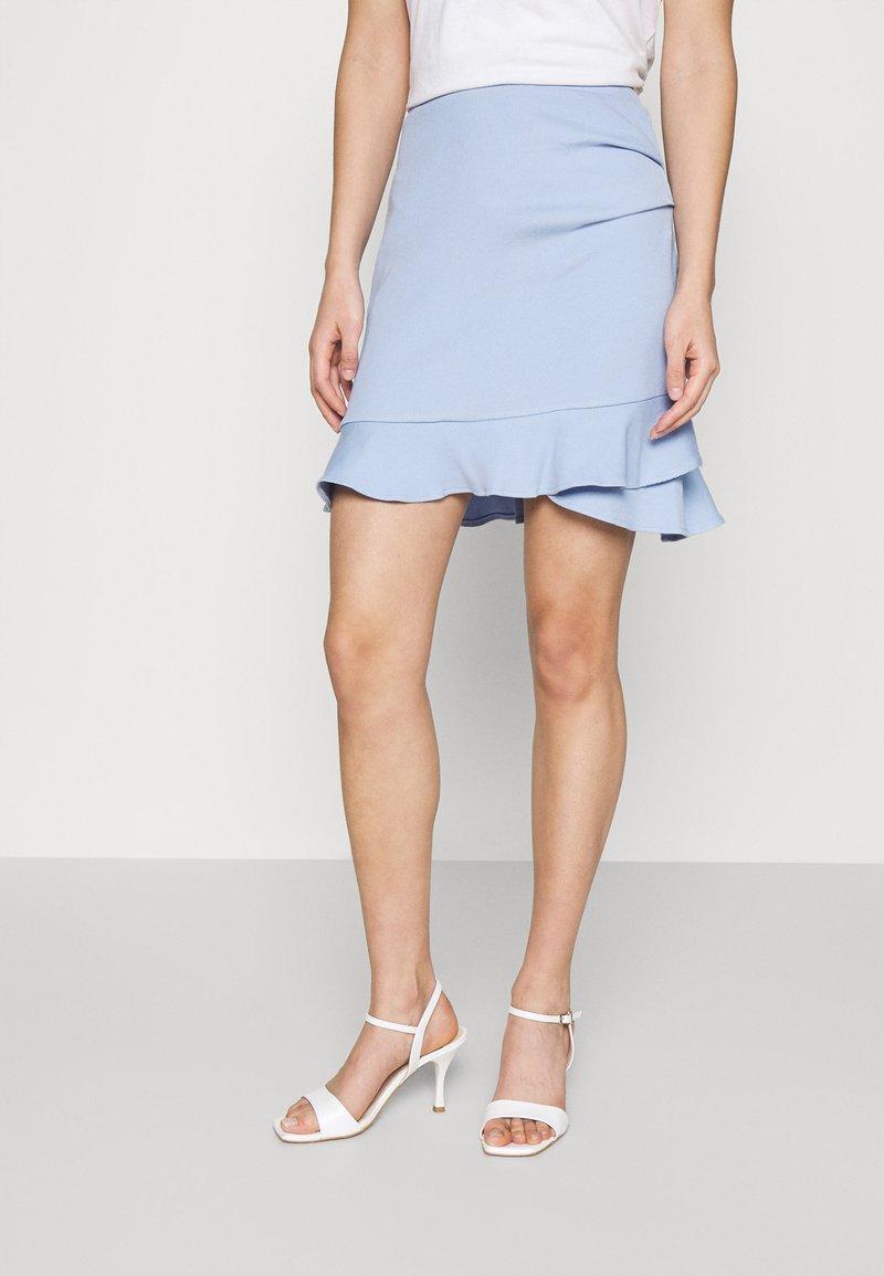Forever New - LUCY FRILL SKIRT - Mini skirt - placid sky