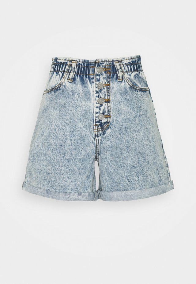 PLEAT WAIST BAND HIGHWAISTED - Shorts di jeans - blue