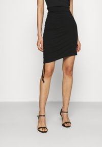 Even&Odd - Drawcord basic mini skirt - Pencil skirt - black - 2