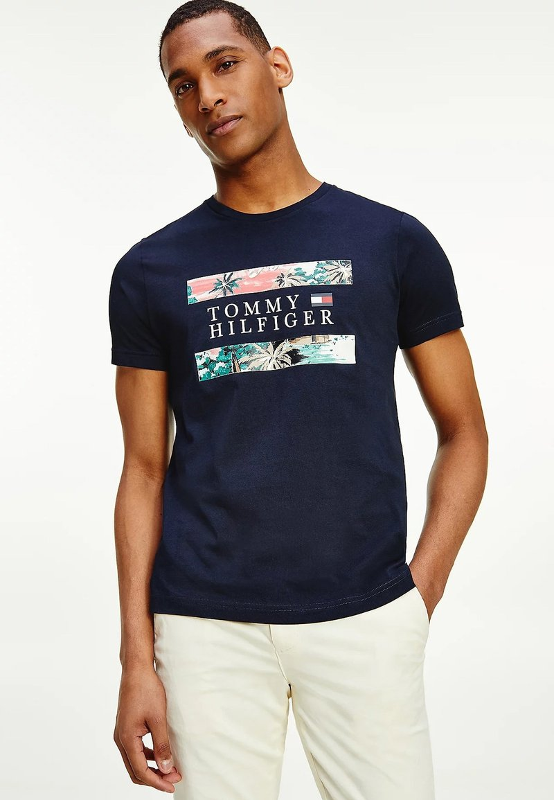 Tommy Hilfiger - HAWAIIAN FLAG - Print T-shirt - desert sky