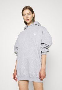 Missguided - PLAYBOY COWGIRL OVERSIZED HOODY DRESS - Vestido informal - grey - 2