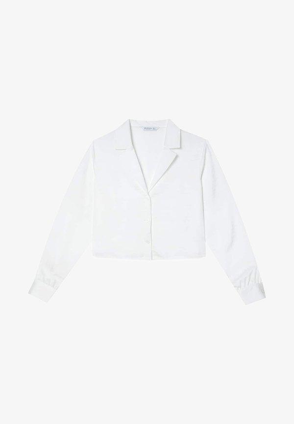 Stradivarius SATINIERTES - Koszula - white/biały JGTK