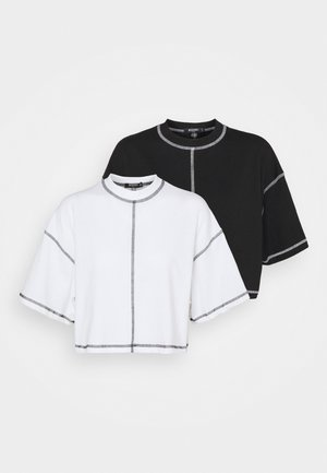 CONTRAST STITCH CROP TEE 2 PACK - T-shirt print - black/white