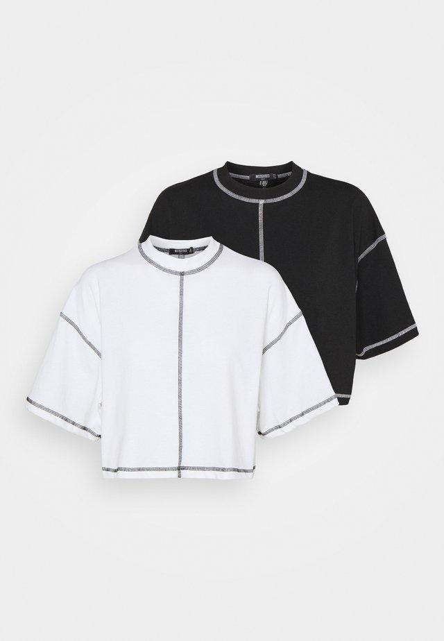 CONTRAST STITCH CROP TEE 2 PACK - T-shirt imprimé - black/white