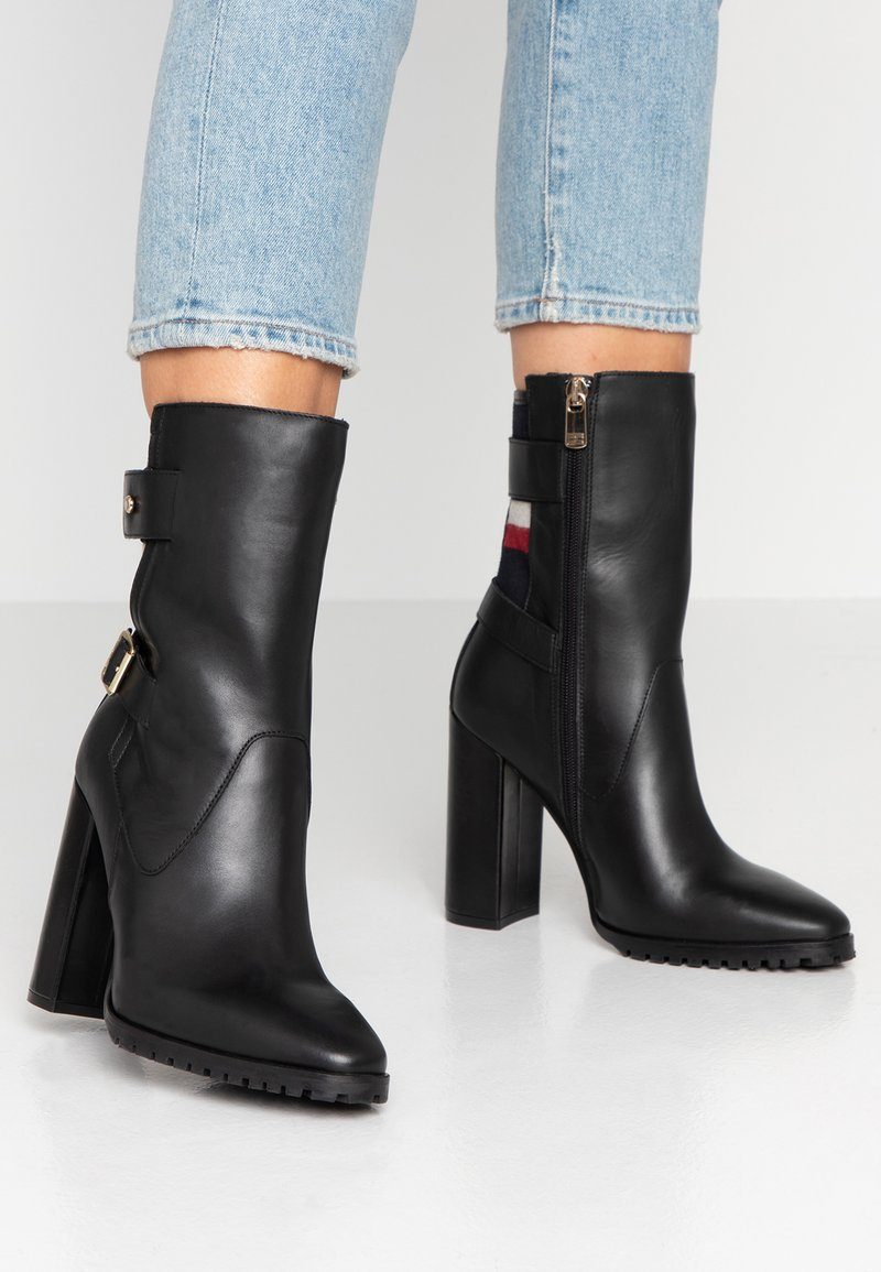 Tommy Hilfiger - MODERN BLANKET HIGH BOOTIE - High heeled ankle boots - black