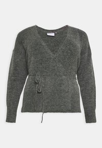 Kaffe Curve - KCWELLY WRAP - Cardigan - dark grey mélange - 3