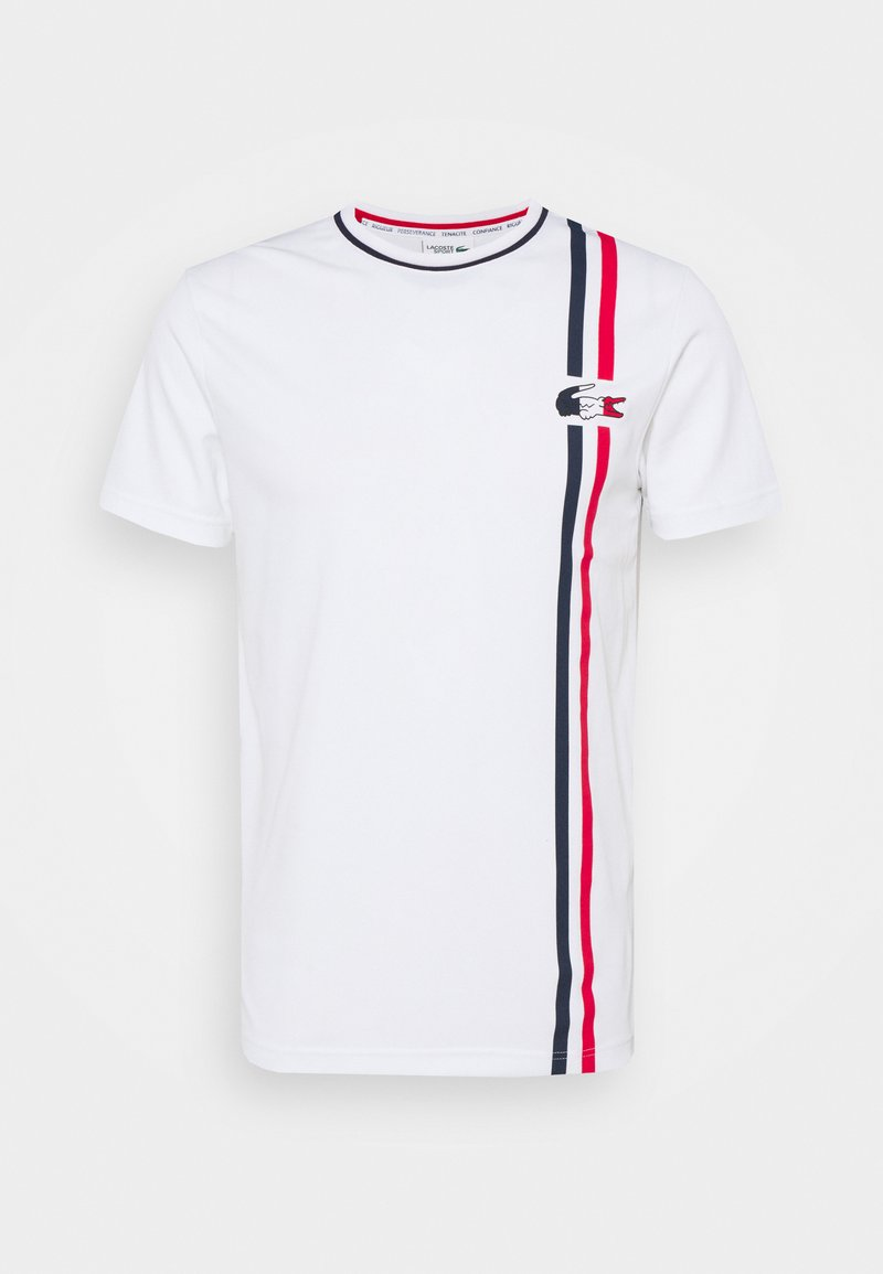 Lacoste Sport - OLYMP - Print T-shirt - white/navy blue/red