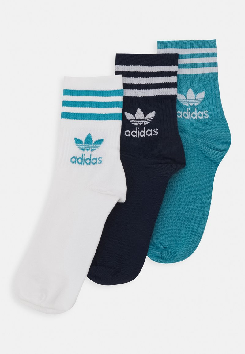 adidas Originals - MID CUT UNISEX 3 PACK - Strømper - white/dark blue