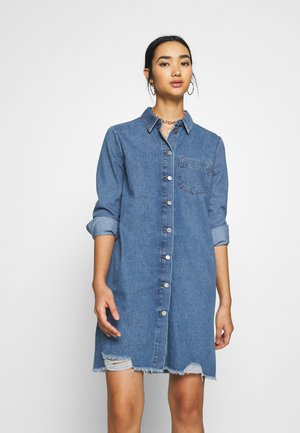 JDYSANSA DRESS RAW  - Denim dress - medium blue denim