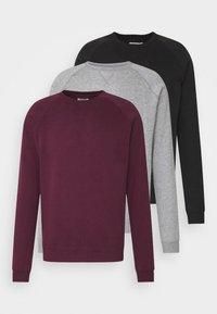 Pier One - 3 PACK - Sweatshirt - bordeaux/black/grey - 0