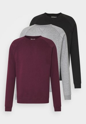 3 PACK - Mikina - bordeaux/black/grey