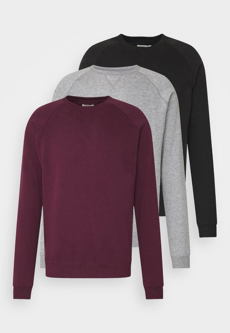 Pier One - 3 PACK - Sweatshirt - bordeaux/black/grey