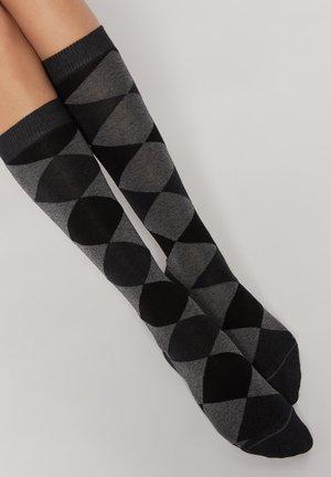 Knee high socks - grau charcoal grey diamond blend