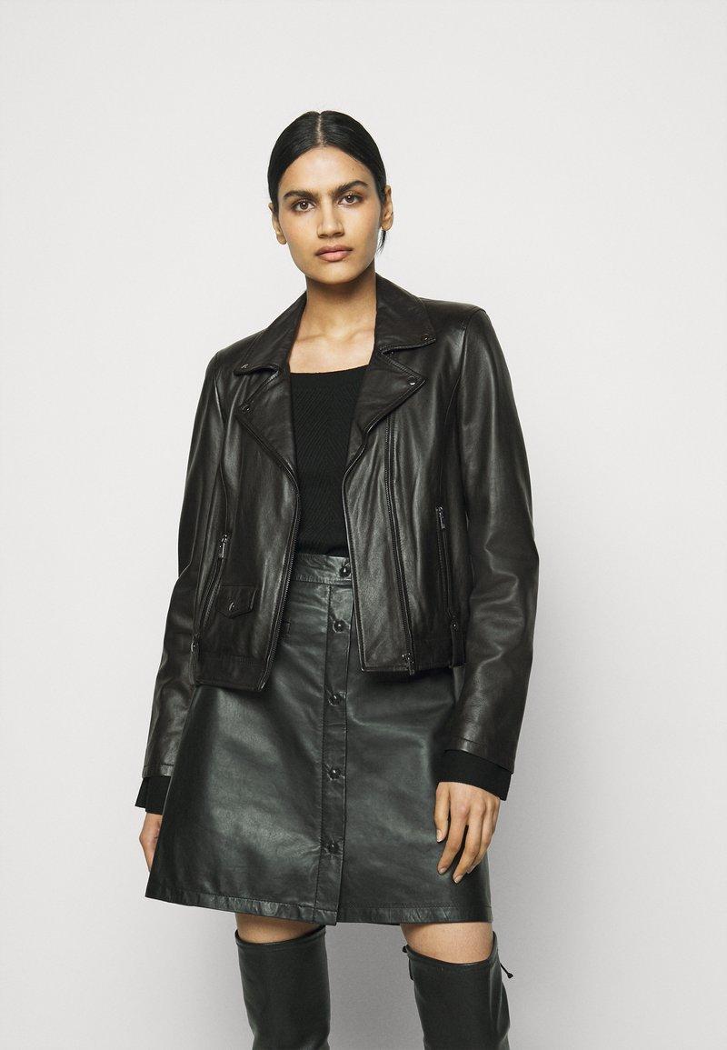 RIANI - Leather jacket - black