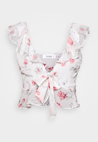 Missguided - FLORAL TIE FRONT FRILL CROP - Camicetta - white - 0