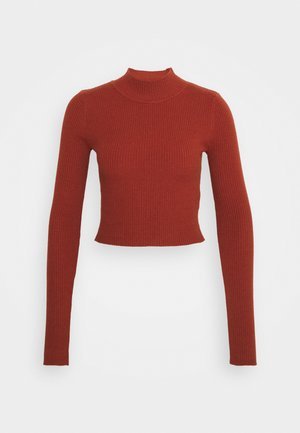 CROPPED JUMPER WITH LONG SLEEVES AND HIGH ROUND NECKLINE - Jumper - rust