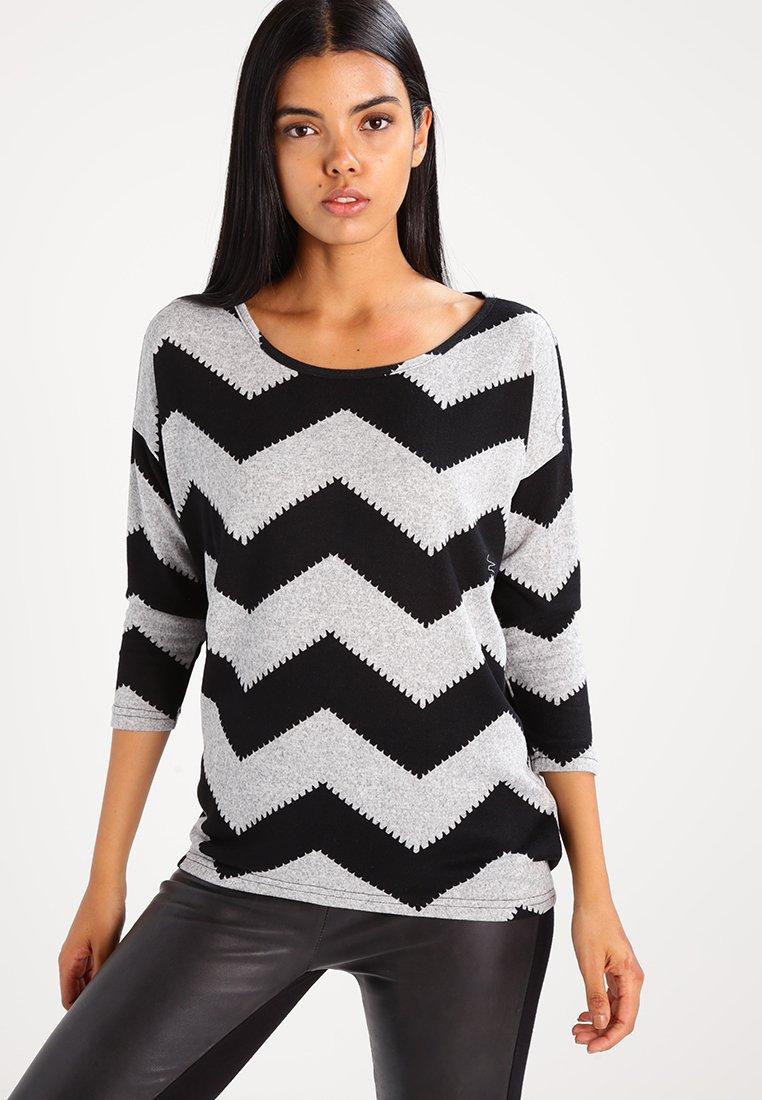 ONLY - ONLELCOS - Jersey de punto - light grey melange/black