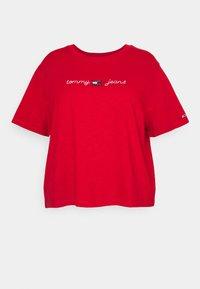 HOMESPUN LINEAR TEE - T-shirt z nadrukiem - deep crimson