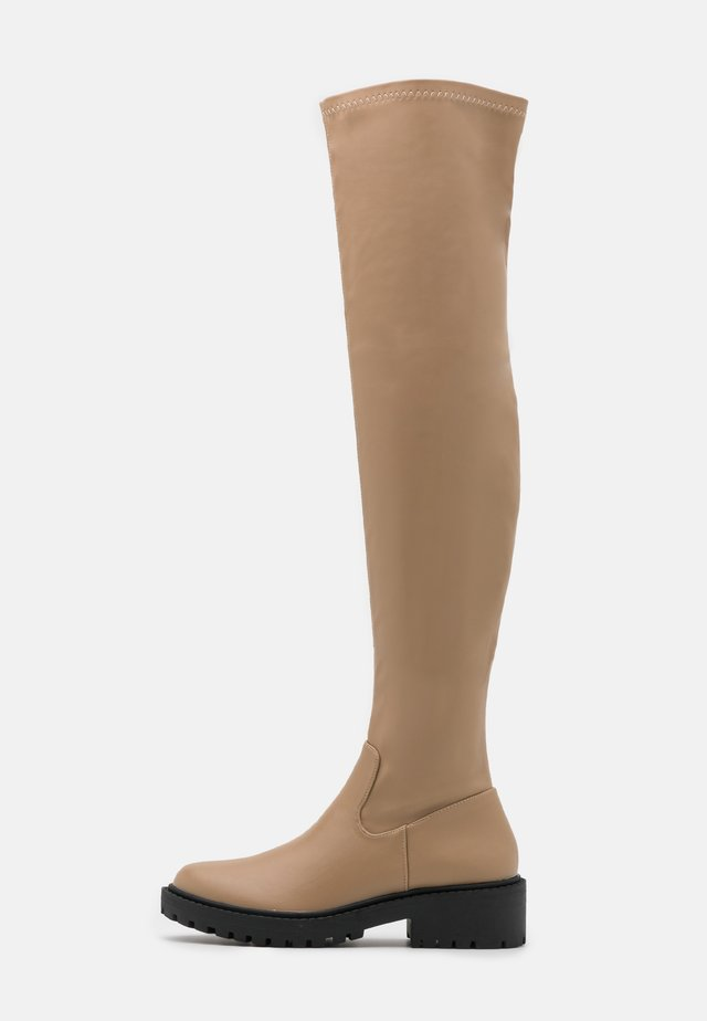 LUG SOLE BOOT - Over-the-knee boots - taupe smooth