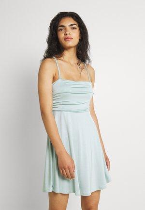 GATHERED DETAIL MINI DRESS - Jersey dress - vintage mint