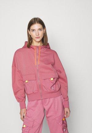 HOODIE - Zip-up hoodie - desert berry/laser orange
