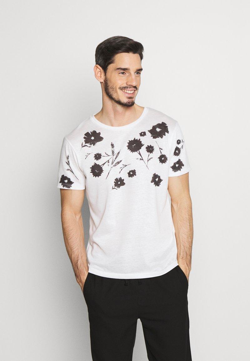 Jack & Jones PREMIUM - TIME TEE CREW NECK - T-shirt med print - blanc de blanc