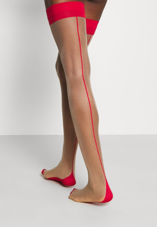 STOCKINGS BACKSEAM LEG - Calze parigine - nude/red