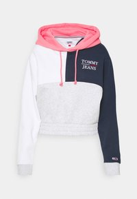Tommy Jeans - CROP COLORBLOCK LOGO HOODIE - Sweatshirt - silver grey/multi - 4