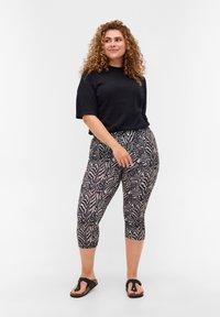 Zizzi - Leggings - Trousers - black zebra aop - 1