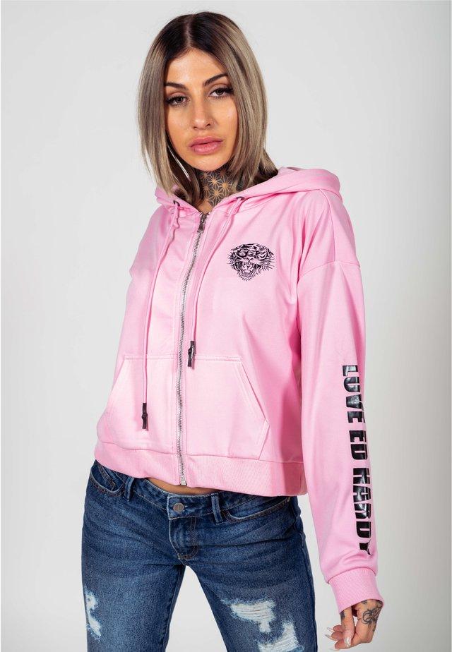 LOVE ED CROP ZIP HOODY - veste en sweat zippée - pink