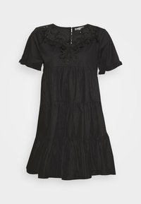 POPLIN CROCHET SMOCK DRESS - Vestito elegante - black