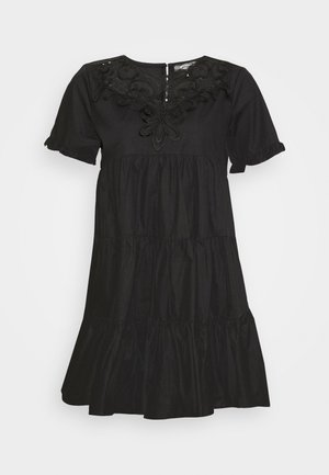 POPLIN CROCHET SMOCK DRESS - Cocktail dress / Party dress - black