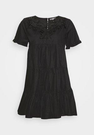 POPLIN CROCHET SMOCK DRESS - Juhlamekko - black