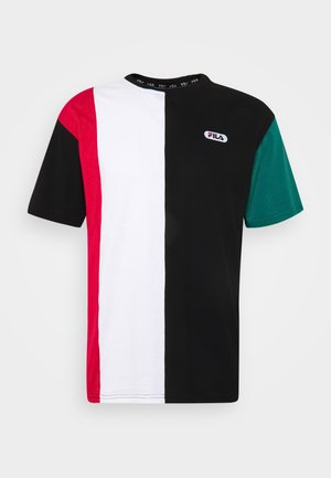 BANSI BLOCKED TEE - T-shirt imprimé - black/teal green/bright white/cerise