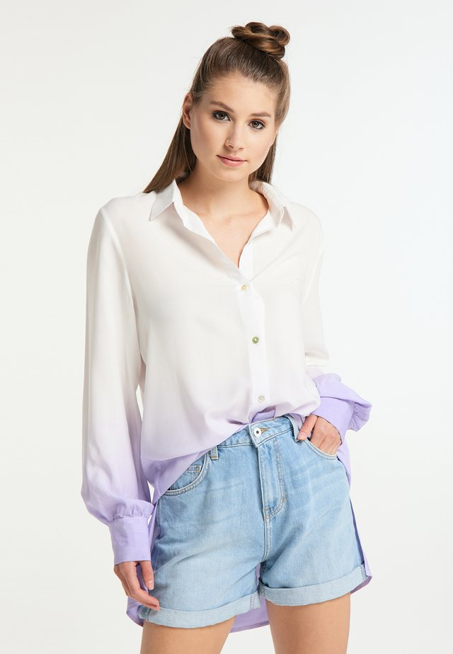 Button-down blouse - weiss flieder