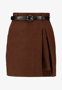 Lost Ink - PLEAT DETAIL BELTED MINI SKIRT - A-line skjørt - brown - 4