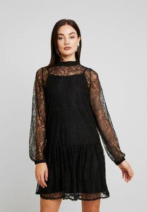 HIGH NECK BALLOON SLEEVE MINI DRESS - Korte jurk - black