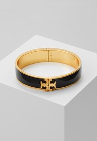 Tory Burch - RAISED LOGO THIN HINGED BRACELET - Armband - black/gold-coloured - 0