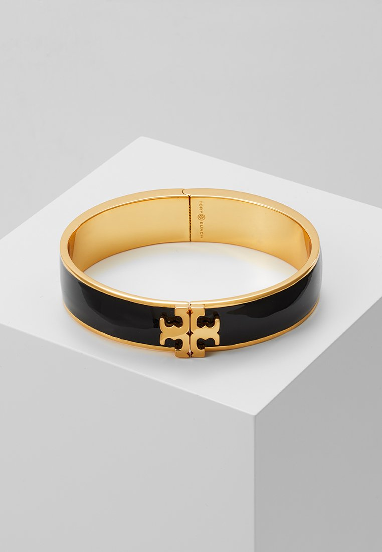 Tory Burch - RAISED LOGO THIN HINGED BRACELET - Armband - black/gold-coloured