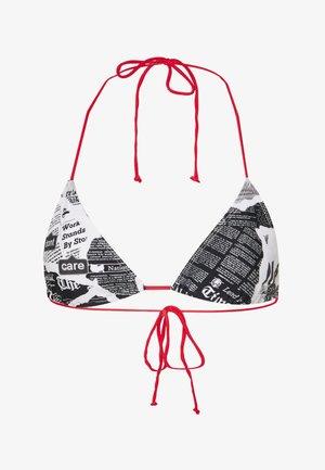 TRIANGLE NEWSPAPER PRINT - Bikini top - black/white