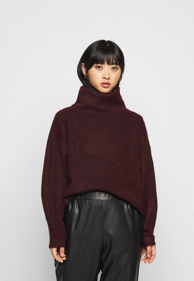 FASH SLOUCHY ROLL NECK - Sweter - dark burgundy