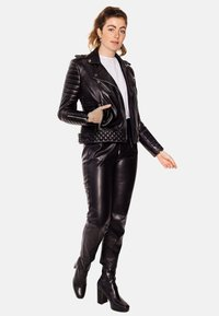 LEATHER HYPE - ALEX PERFECTO - Leather jacket - black with light silver accessories - 7