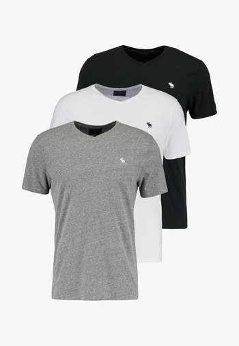 VNECK 3 PACK - T-shirt - bas - white/black/grey
