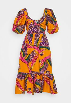 BEADED MACAWS MIDI DRESS - Day dress - orange