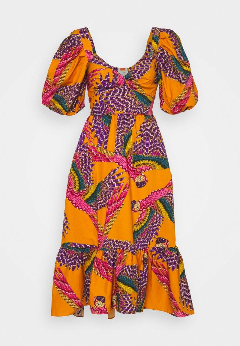 Farm Rio - BEADED MACAWS MIDI DRESS - Day dress - orange