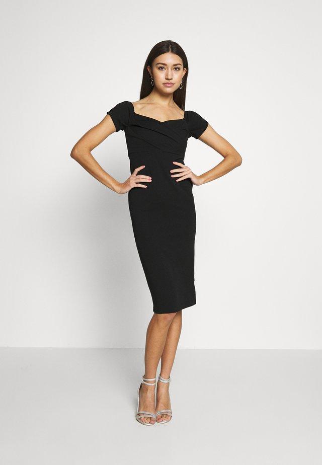 BARDOT WRAP MID - Pouzdrové šaty - black