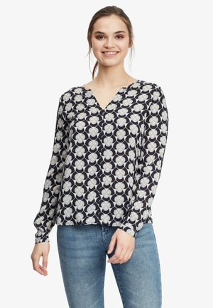 MIT MUSTER - Long sleeved top - weiß/blau