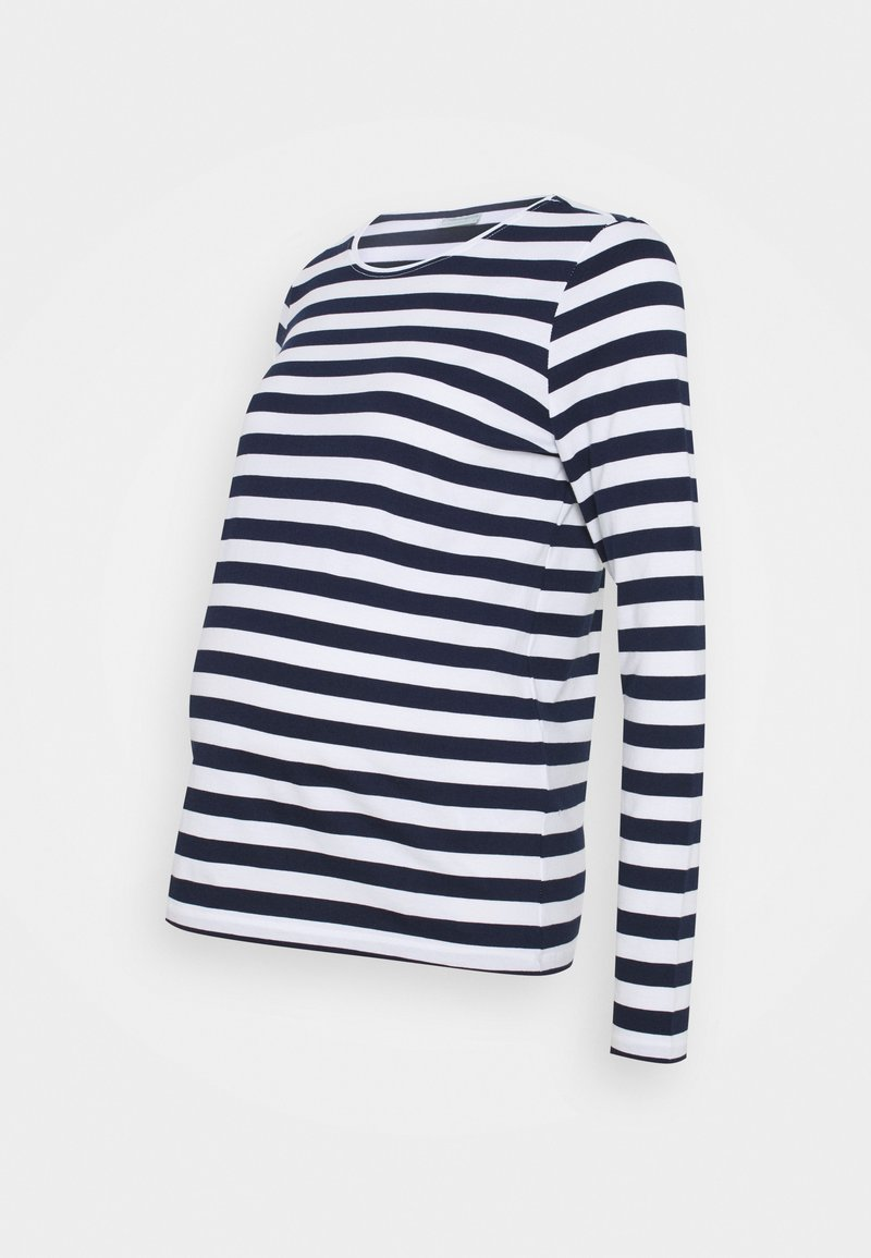 Pieces Maternity - PCMRIA NEW TEE - Long sleeved top - bright white/maritime blue